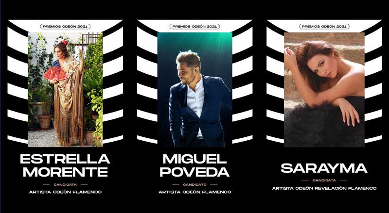 Estrella Morente, Miguel Poveda y Sarayma nominados a los Premios Odeón 2021